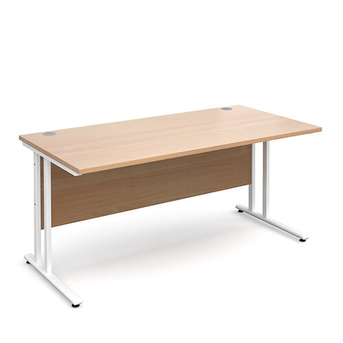 Maestro 25 WL straight desk 1600mm x 800mm - white cantilever frame, beech top