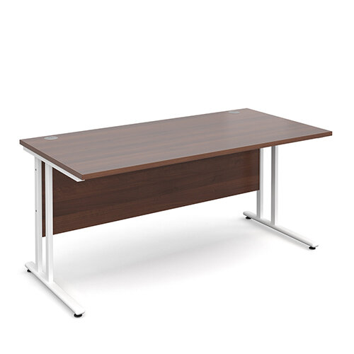 Maestro 25 WL straight desk 1600mm x 800mm - white cantilever frame, walnut top