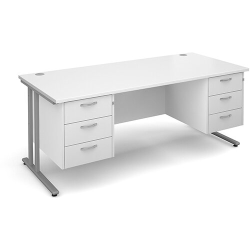 Maestro 25 SL straight desk with 3 and 3 drawer pedestals 1800mm - silver cantilever frame, white top