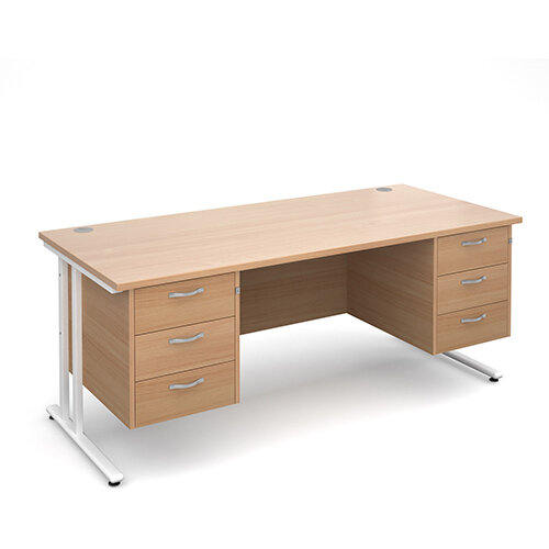 Maestro 25 WL straight desk with 3 and 3 drawer pedestals 1800mm - white cantilever frame, beech top
