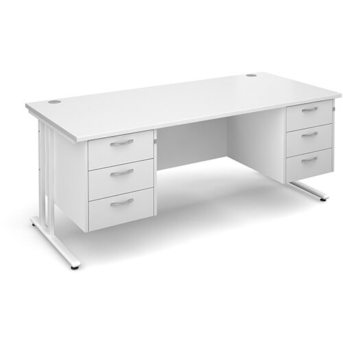Maestro 25 WL straight desk with 3 and 3 drawer pedestals 1800mm - white cantilever frame, white top
