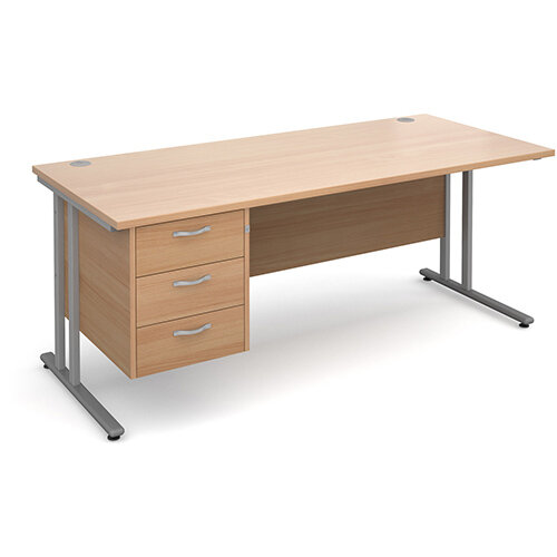 Maestro 25 SL straight desk with 3 drawer pedestal 1800mm - silver cantilever frame, beech top