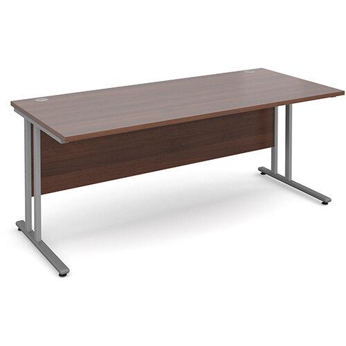 Maestro 25 SL straight desk 1800mm x 800mm - silver cantilever frame, walnut top