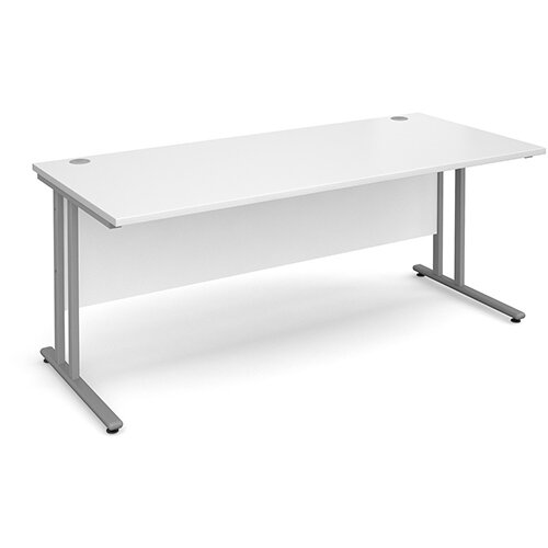 Maestro 25 SL straight desk 1800mm x 800mm - silver cantilever frame, white top