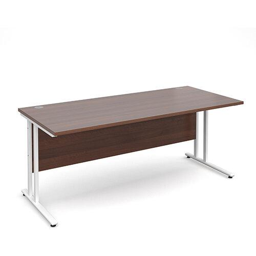 Maestro 25 WL straight desk 1800mm x 800mm - white cantilever frame, walnut top