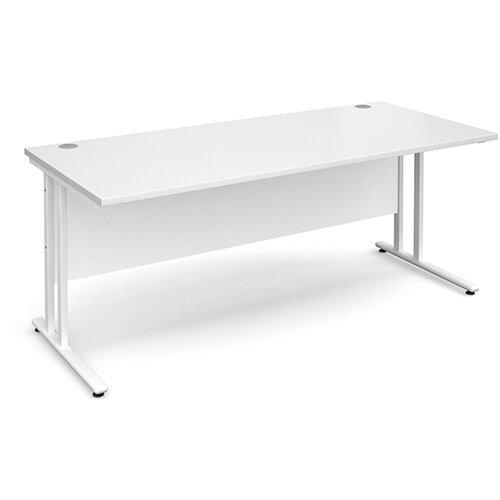 Maestro 25 WL straight desk 1800mm x 800mm - white cantilever frame, white top
