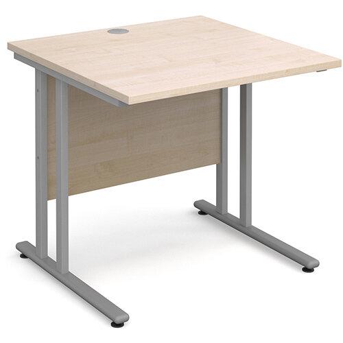 Maestro 25 SL straight desk 800mm x 800mm - silver cantilever frame, maple top