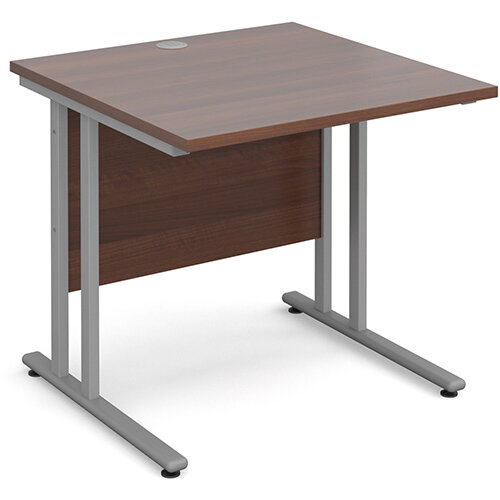 Maestro 25 SL straight desk 800mm x 800mm - silver cantilever frame, walnut top