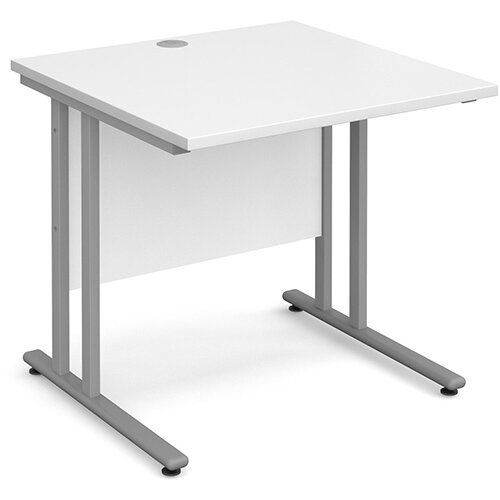 Maestro 25 SL straight desk 800mm x 800mm - silver cantilever frame, white top