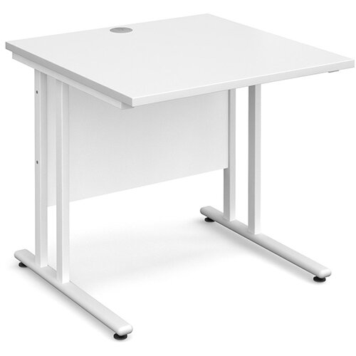 Maestro 25 WL straight desk 800mm x 800mm - white cantilever frame, white top