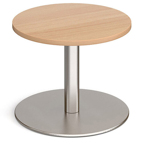 Monza Circular Beech Coffee Table with Flat Round Brushed Steel Base 600mm