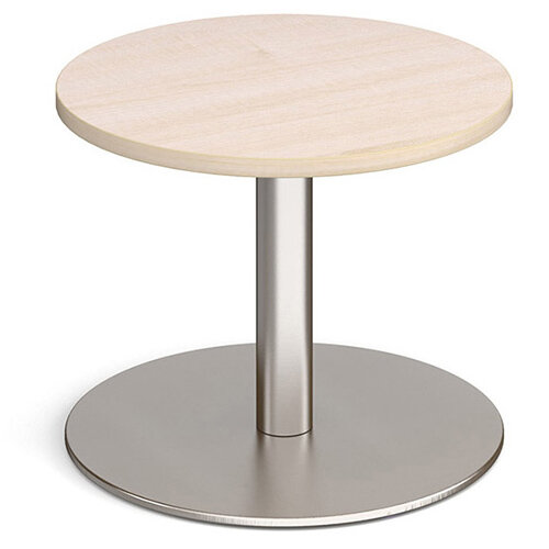 Monza Circular Maple Coffee Table with Flat Round Brushed Steel Base 600mm
