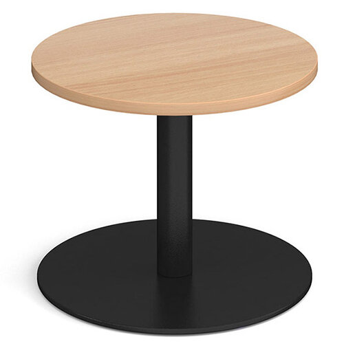 Monza Circular Beech Coffee Table with Flat Round Black Base 600mm