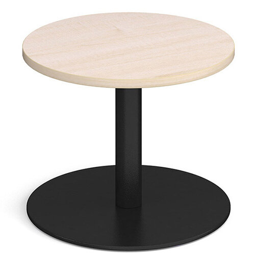 Monza Circular Maple Coffee Table with Flat Round Black Base 600mm