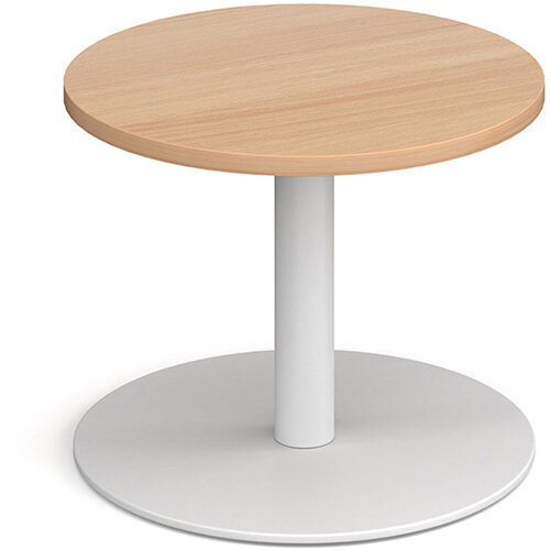 Monza Circular Beech Coffee Table with Flat Round White Base 600mm