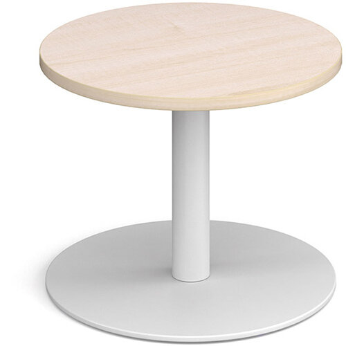 Monza Circular Maple Coffee Table with Flat Round White Base 600mm