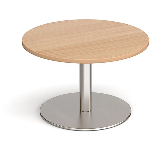 Monza Circular Beech Coffee Table with Flat Round Brushed Steel Base 800mm