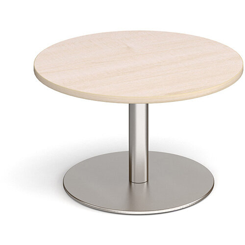 Monza Circular Maple Coffee Table with Flat Round Brushed Steel Base 800mm
