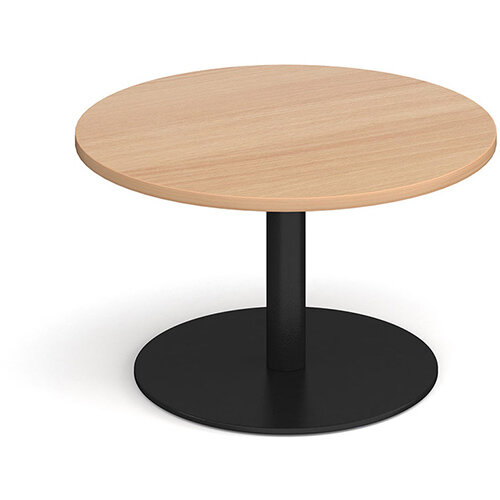 Monza Circular Beech Coffee Table with Flat Round Black Base 800mm