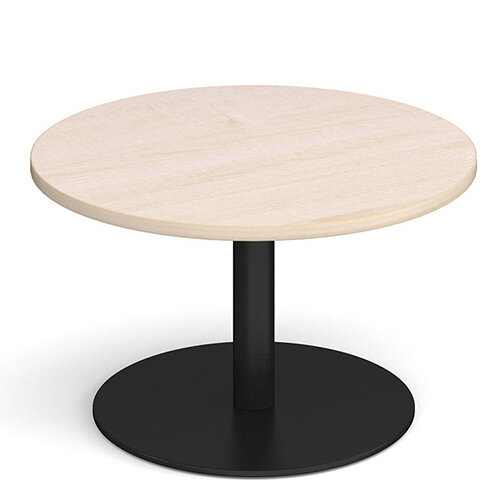 Monza Circular Maple Coffee Table with Flat Round Black Base 800mm
