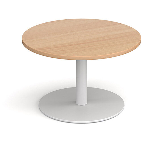 Monza Circular Beech Coffee Table with Flat Round White Base 800mm