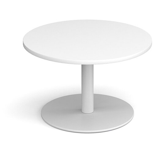 Monza Circular White Coffee Table with Flat Round White Base 800mm