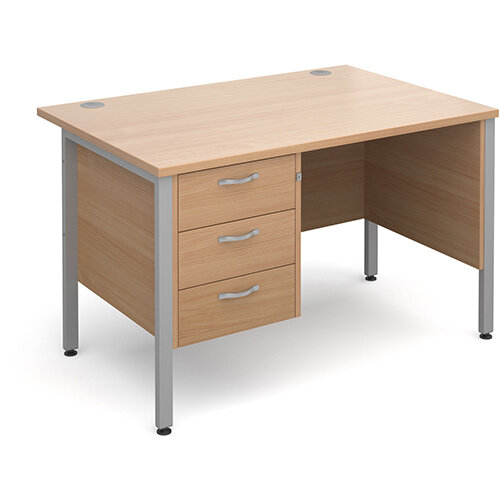 Maestro 25 SL straight desk with 3 drawer pedestal 1200mm - silver H-Frame, beech top