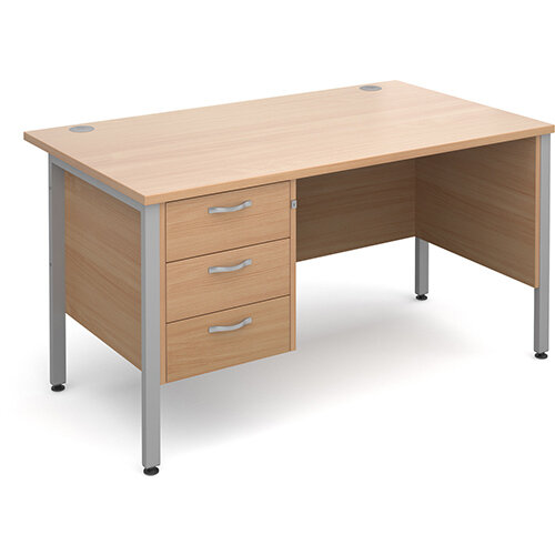 Maestro 25 SL straight desk with 3 drawer pedestal 1400mm - silver H-Frame, beech top