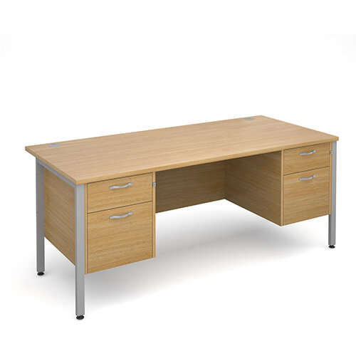 Maestro 25 SL straight desk with 2 and 2 drawer pedestals 1800mm - silver H-Frame, oak top