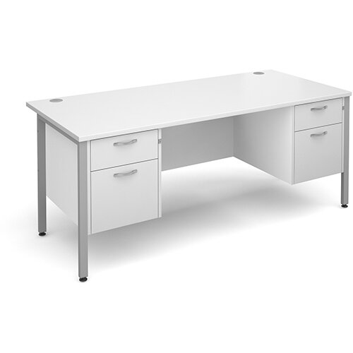 Maestro 25 SL straight desk with 2 and 2 drawer pedestals 1800mm - silver H-Frame, white top