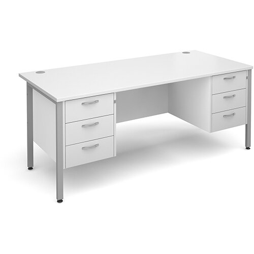 Maestro 25 SL straight desk with 3 and 3 drawer pedestals 1800mm - silver H-Frame, white top