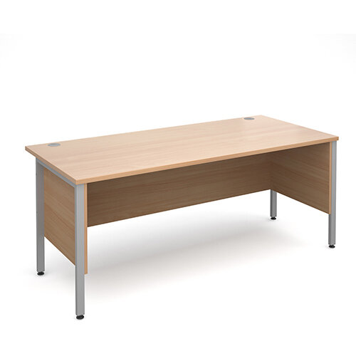Maestro 25 SL straight desk with side modesty panels 1800mm x 800mm - silver H-Frame, beech top