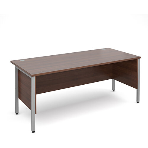 Maestro 25 SL straight desk with side modesty panels 1800mm x 800mm - silver H-Frame, walnut top