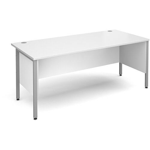 Maestro 25 SL straight desk with side modesty panels 1800mm x 800mm - silver H-Frame, white top