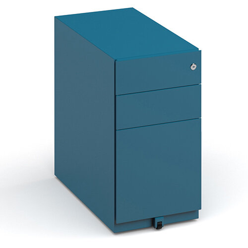 Bisley slimline steel pedestal 300mm wide - blue
