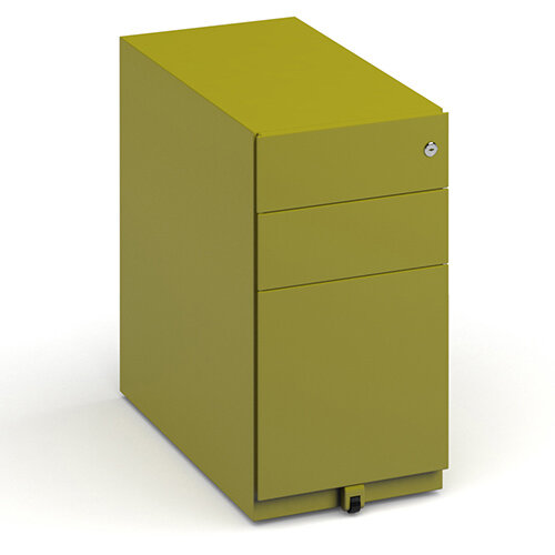 Bisley slimline steel pedestal 300mm wide - green
