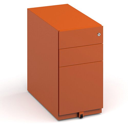 Bisley slimline steel pedestal 300mm wide - orange