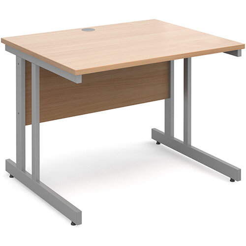Momento straight desk 1000mm x 800mm - silver cantilever frame, beech top