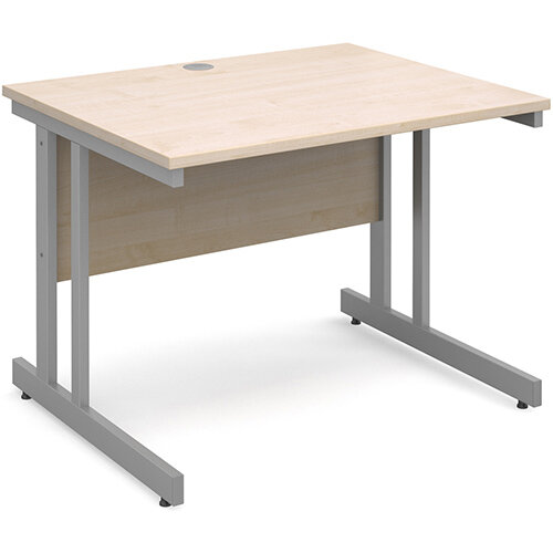 Momento straight desk 1000mm x 800mm - silver cantilever frame, maple top
