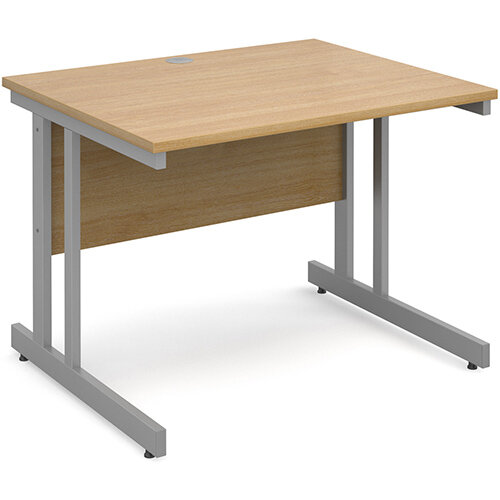 Momento straight desk 1000mm x 800mm - silver cantilever frame, oak top