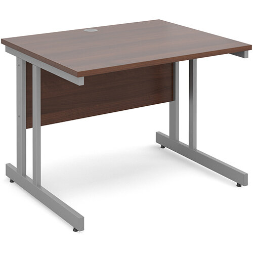Momento straight desk 1000mm x 800mm - silver cantilever frame, walnut top