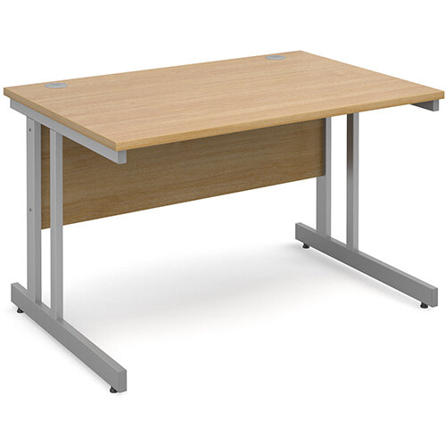 Momento straight desk 1200mm x 800mm - silver cantilever frame, oak top