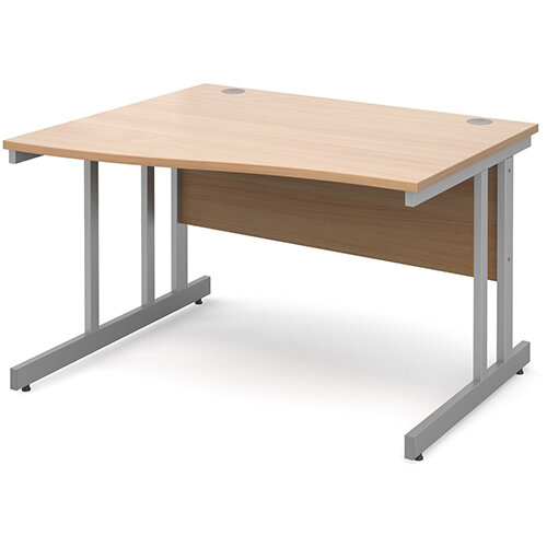 Momento left hand wave desk 1200mm - silver cantilever frame, beech top
