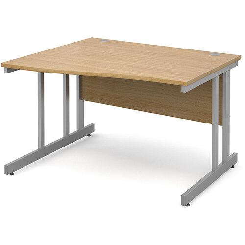 Momento left hand wave desk 1200mm - silver cantilever frame, oak top