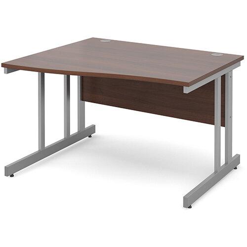 Momento left hand wave desk 1200mm - silver cantilever frame, walnut top