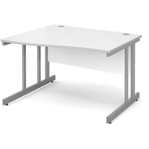 Momento left hand wave desk 1200mm - silver cantilever frame, white top