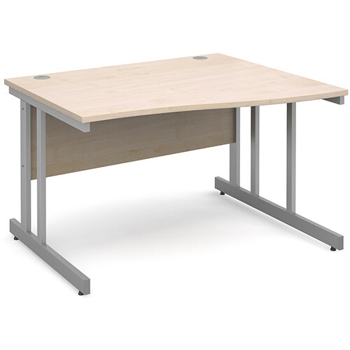 Momento right hand wave desk 1200mm - silver cantilever frame, maple top