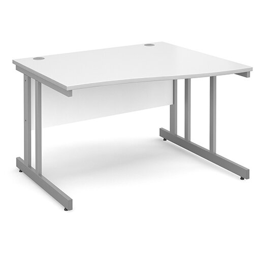 Momento right hand wave desk 1200mm - silver cantilever frame, white top
