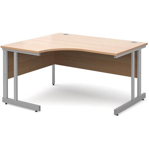 Momento left hand ergonomic desk 1400mm - silver cantilever frame, beech top