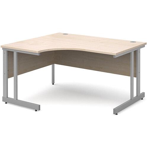 Momento left hand ergonomic desk 1400mm - silver cantilever frame, maple top